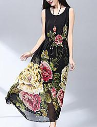 Mujer Gasa Vestido Noche Simple,Floral Escote Redondo Maxi Sin Mangas Acrílico Verano Tiro Medio Rígido Medio