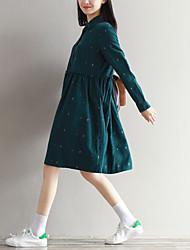 Signer lâche rétro femelle petit lapin coton velours en velours côtelé à main longue robe imprimée