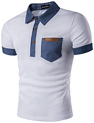 Для мужчин На каждый день Офис Спорт Лето Polo Рубашечный воротник,Простое Активный Полоски Контрастных цветов С короткими рукавами,