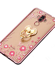 For Huawei Mate9Pro Cover Case Rhinestone Plating Ring Holder Transparent DIY Back Cover Case Flower Soft TPU Mate 9/8/7/P9/P9Lite/P9Plus/P8/P8Lite/