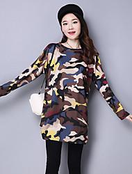 sinal hitz 2016 versão coreana do grande tamanho mulheres vestido estampado floral em torno do pescoço vestido ocasional no outono