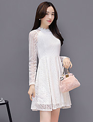 Women's Going out Casual/Daily Simple A Line Dress,Solid Embroidered Round Neck Above Knee Long Sleeve Cotton Bamboo Fiber Spring Summer