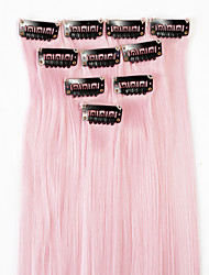Neitsi 10pcs 18inch Colored Highlight Synthetic Clip on in Hair Extensions Light Pink