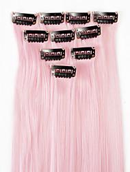 neitsi 10pcs 18inch culminante de color sintético clip en extensiones de cabello en la luz de color rosa