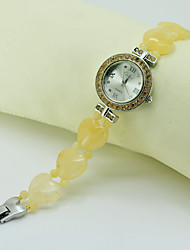 Women's Fashion Watch Simulated Diamond Watch Quartz Jade Band Orange