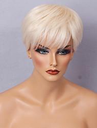 Perruque cheveux courts diy moelleux cheveux raides blanc cassé perruques sans bouchon de cheveux humains pour les femmes élégantes