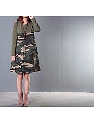 punto 2016 nuova ondata di donne di grandi dimensioni&# 39; s coreano camuffamento cuciture modo del cotone allentato vestito da