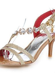 Feminino-Sandálias-Sapatos clube-Salto Agulha-Dourado Prata Vermelho-Gliter Materiais Customizados-Casamento Social Festas & Noite
