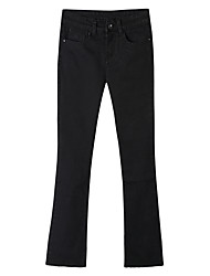 Women's Mid Rise Micro-elastic Jeans Pants,Sexy Bootcut Pleated Solid