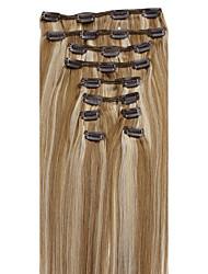 20-26inch (10pcs) / set cheveux brésiliens 10 couleurs doubles trames clip dans agrafe droite dans des extensions de cheveux humains
