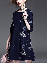 Dentelle Robe Femme Vacances simple,Couleur Pleine Licou Mi-long Manches ¾ Coton Printemps Taille Normale Micro-élastique Moyen