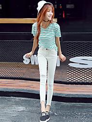 2017 Cool fiber future explosion models hole black jeans white female