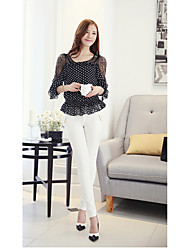 The new mesh sleeve Korean ladies lace chiffon shirt small shirt personalized