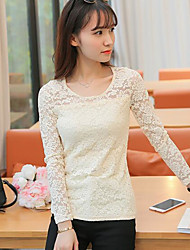 Spring and Autumn new long-sleeved T-shirt shirt wild gauze hollow lace shirt Slim ladies lace shirt