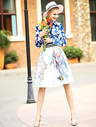 Women's Casual/Daily Work Simple Spring Shirt Skirt Suits,Print Round Neck Long Sleeve Polyester