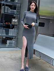 2016 autumn and winter new Korean long-sleeved knit split Slim thin package hip dress bottoming dress women