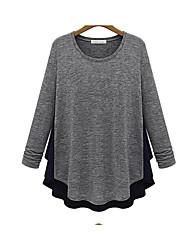 Herbst neue europäische und amerikanische große Frauen&# 39; s runde Hals Hedging Chiffon-Shirt Langarm-Strick Nähte Bodenung Batch