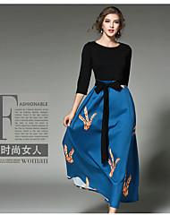 Signes spot des stations européennes coutures en dentelle manches manche imprimé fashion slim was fine dress