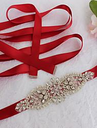 Satin Wedding Party/ Evening Dailywear Sash-Sequins Beading Crystal Rhinestone Imitation Pearl 98 ½in(250cm)Sequins Beading Crystal