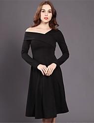 Hepburn seções vestido preto e longo 2016 mulheres de inverno fino v-pescoço strapless pouco vestido preto foi malha fina