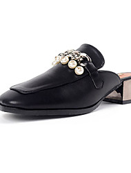 Women's Sandals Summer Club Shoes Patent Leather Dress Flat Heel Imitation Pearl