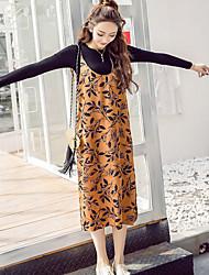 venta vestido estampado retro nuevo Instituto Coreano de viento flojo sin mangas de la correa vestido de flores de primavera