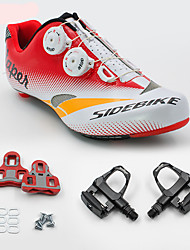 Tênis Sapatilhas de Ciclismo com Travas & Pedal Unisexo Almofadado Bicicleta de Estrada Malha Respirável Couro Ecológico EVA