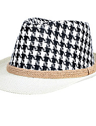 Men Hemp Rope Weaving Jazz Printing Straw Black Small Hat Beach Flat Top Shade Hat