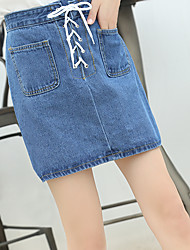 Sign 2017 Spring and Autumn Korean version of the retro high waist strap denim skirt bust skirt double pocket skirt a word
