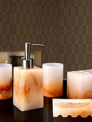 Jade Bathroom Accessory Set of 6 Objects Resin /Contemporary