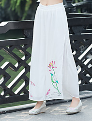 2017 spring and summer new national wind divided skirts flowing chiffon loose wide leg trousers leisure wild female