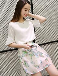 Model real shot summer 2017 Korean Floral piece flounced chiffon skirt short-sleeved dress women