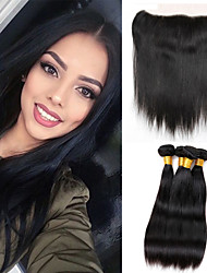 Vinsteen  Brazilian Hair Weave Bundles 8A Brazilian Virgin Hair Straight 4PC Lot Unprocessed Virgin Brazilian Straight Hair with Lace Frontal Closure
