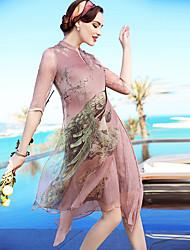 Feminino Solto Reto Vestido,Praia Para Noite Casual Vintage Simples Sofisticado Floral Estampa Animal Assimétrico Altura dos JoelhosMeia