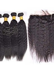 Vinsteen 100% Virgin Brazilian Hair Kinky Straight with 13x4 Lace Frontal Closure Machine Weft 5pcs/lot Natural Color wholesale price