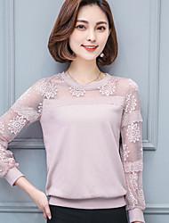 Кружевная рубашка женская весна новая круглая с длинными рукавами рубашка свободная шифоновая рубашка корейская дикая нижняя рубашка топы
