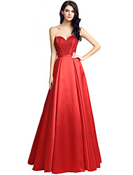 Ball Gown Sweetheart Floor Length Satin Formal Evening Dress with Beading