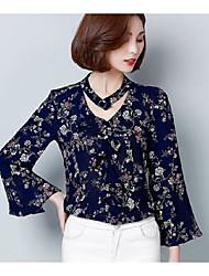 print sinal camisa de chiffon t-shirt de mangas compridas versão feminina da Coréia do 2017 Primavera nova magro babados camisa bottoming
