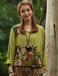 Vento nacional senhoras gordo mm mangas compridas t-shirt senhora bottoming camisa blusa de tamanho grande camisa pequena solto primavera