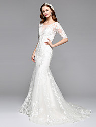 Lanting Bride® Trumpet / Mermaid Wedding Dress Open Back Two-in-One Wedding Dress Floor-length Jewel Lace Tulle with Lace