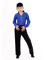 Shall We Latin Dance Outfits Children Performance Dots Top Pants