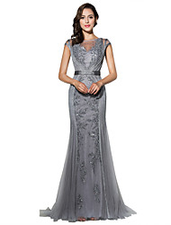 Mermaid / Trumpet Jewel Neck Sweep / Brush Train Tulle Formal Evening Dress with Beading