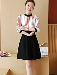 Sign 2017 spring new Korean version of Slim thin round neck striped chiffon dress Girls long section