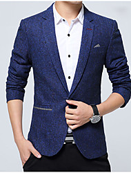 Men's Going out Casual/Daily Simple Spring Fall Blazer,Solid V Neck Long Sleeve Regular Rayon