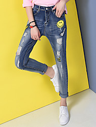 Sign 2017 spring new wide Song Halun female embroidery patch pantyhose significantly thin pencil pants feet pants hole