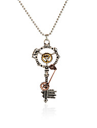 Vintage Pendant Necklace Gear Charm Steampunk Necklaces-Skeleton Key