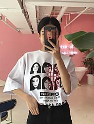 ulzzang2017年春季新款印花字母人头 тройник южнокорейская женщина