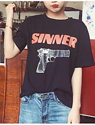 signer de nouveaux printemps et en été le vent de collège sauvage lettres en vrac imprimés pistolet à col rond de couverture t-shirt à