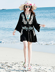Real shot Bohemian summer beach dress embroidered sexy Thai seaside resort essential skirt