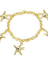 Exquisite Yellow Gold Plated Sweet Starfish Chain & Link Bracelets Jewellery for Women Accessiories